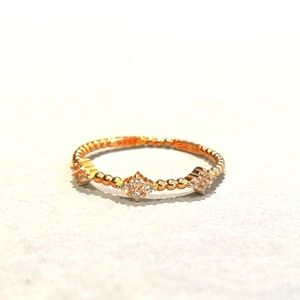 Dainty 18k Gold On Silver Ring. Size 10. SS925.